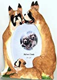 """Boxer Dog Family Hand Painted Picture Frame, Holds 4x6"""" Photo N12153 7x9"""" Overall"""