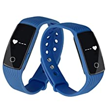 Bluetooth Smart Wrist Watch Sports Fitness Activity Tracker Pedometer Smart Watch Sport Wristband Bracelet Sync Phone Mate Waterproof for iOS and Android Devices (Blue)