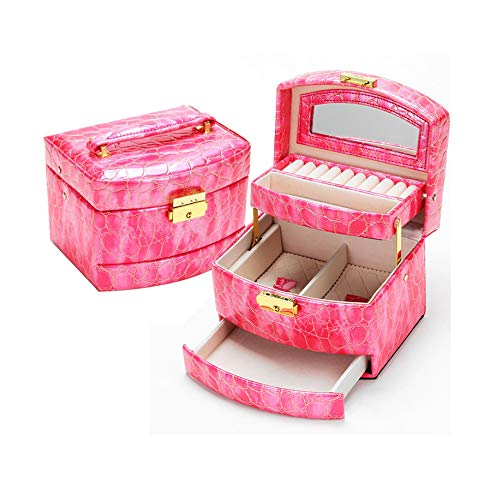 New Luxury PU Leather Women Jewelry Gift Box 3 Layers Jewellery Display -