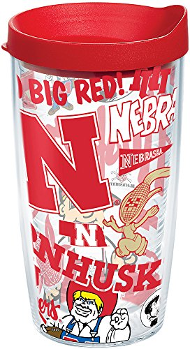 Tervis 1258127 NCAA Nebraska Cornhuskers All Over Tumbler With Lid, 16 oz, Clear