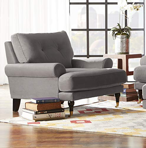 Arm Chair Polyester Cushion - Stitch & Time 1702 Fabric Arm Chair, Grey