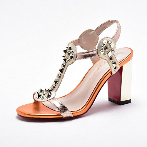 Moda Mujer verano sandalias confortables tacones altos,40 Powder 8CM talón