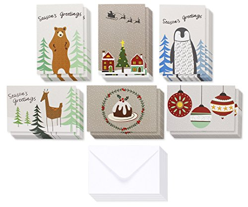 36-Pack Merry Christmas Greeting Cards Bulk Box Set - Winter Holiday Xmas Greeting Cards with Cute Wintertime Designs, Envelopes Included, 4 x 6 (Holiday Greeting Envelope)