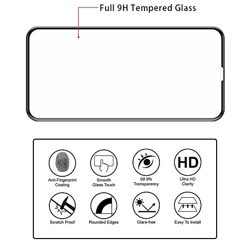 VRURC iPhone X Screen Protector, 5D Curved 9H Hardness Tempered Glass Screen Protector for iPhone X, HD Full Coverage iPhone X/10 Glass Protective Film [Bubble Free] [3D Touch]–Black Photo #3