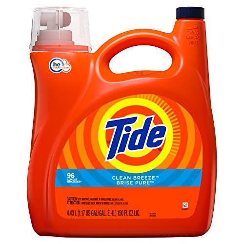 Tide Liquid Laundry Detergent, Clean Breeze, 96 Loads 150 fl oz(Packaging May Vary)