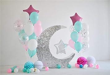 Cassisy 1,5x1m Vinilo 1er cumpleaños Telon de Fondo Bebé Decoración Colorida de los Globos Linterna del Arte Luna Brillante Fondos para Fotografia ...