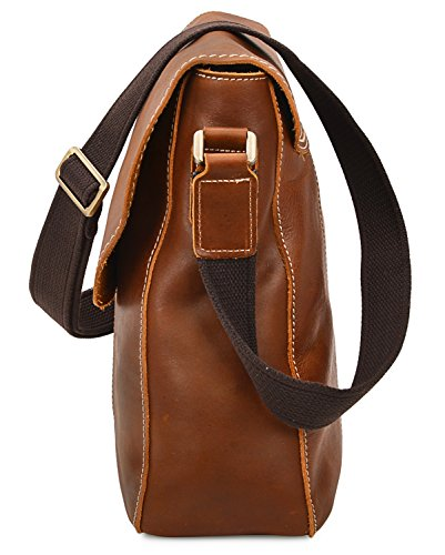 ALTOSY 15 Inch Genuine Leather Messenger Bag Satchel Bag for Office Work College School Business 8069 (light brown) by ALTOSY (Image #3)
