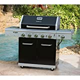 Deluxe 5-Burner Propane Gas Grill in Black with Side Burner and Built-in Searing Zone