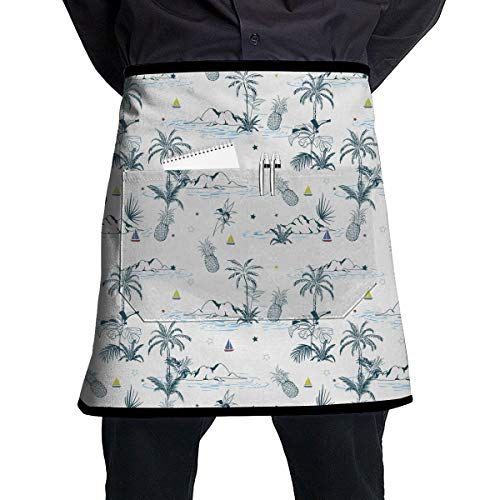 Maui Hawaiian Pattern Waist Tie Half Bistro Apron Adjustable Kitchen Cooking Aprons with Front Pocket, 21 X 18 Inches (Maui Bistro)