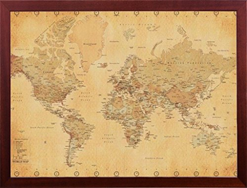 FRAMED Vintage World Map 24x36 Dry Mounted in Real Wood Walnut Brown Crafted in USA