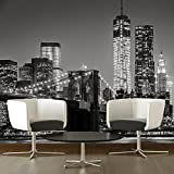 Brooklyn Bridge Wall Mural City Skyline Photo Wallpaper Black & White Home Decor available in 8 Sizes Gigantic Digital