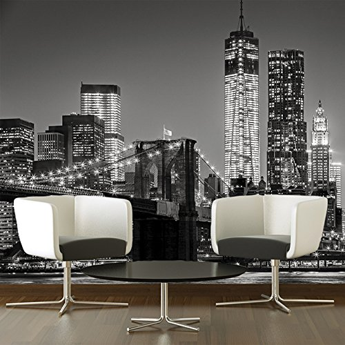 Brooklyn Bridge Wall Mural City Skyline Photo Wallpaper Black