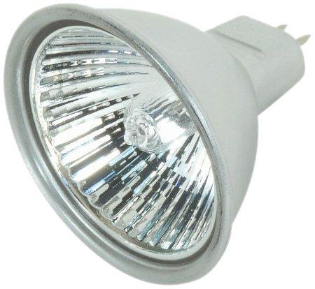 Satco S4177 50 Watt MR16 Halogen GX5.3 Base 12 Volt Silver Back FL 38 Beam Pattern No Harmful Ultraviolet Rays Light Bulb, With Lens