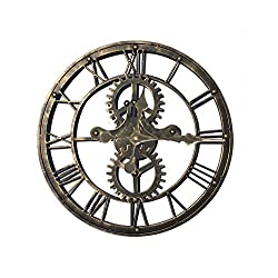 Upuptop 16inch Handmade Vintage Industrial 3D Gear Design Wall Clock Wrought Iron Wheel Unique Shape Gold Color