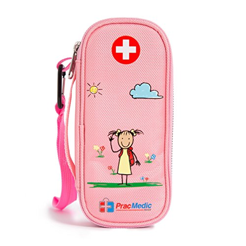 EPIPEN Case for Girls- Store 2 Epipens or Auvi-Q, Asthma Inhaler, Generic Benadryl, Nasal Spray, Eye Drops. Insulin Case for Kids- Store 2 Insulin Pens, Vials, Syringes, Medicine (Pink) by PracMedic Bags