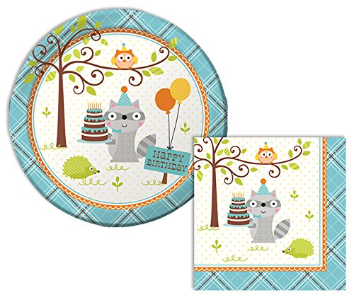 Happi Woodland Boy Happy Birthday Lunch Napkins & Dinner Plates Party Kit for 8