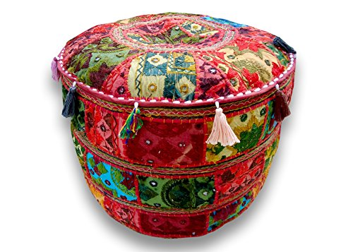 Rastogi Handicrafts Embroidered Patchwork Red Ottoman Cover, Indian Decorative Pouf Ottoman,