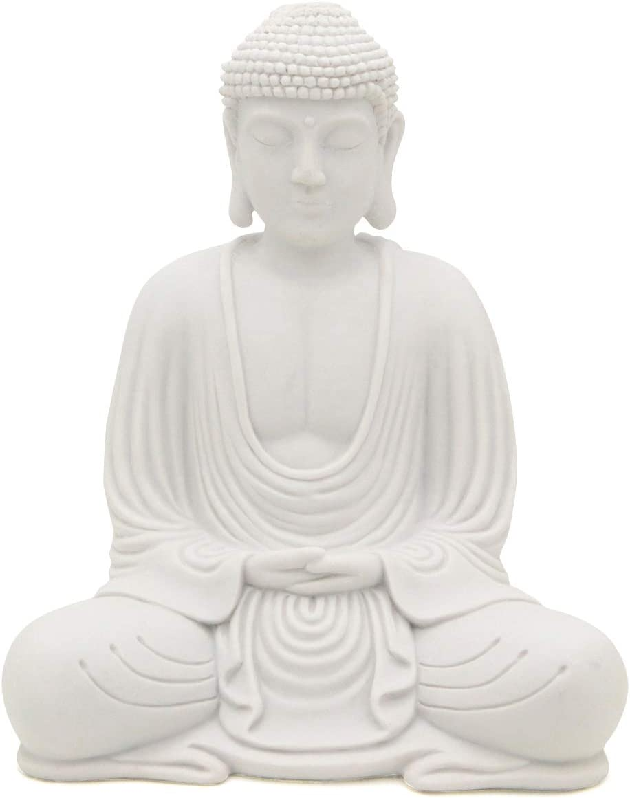 Serene Meditating Buddha Statue In White Finish For Indoor And Outdoor Use White Amazon Co Uk Kitchen Home