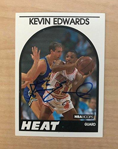 KEVIN EDWARDS MIAMI HEAT SIGNED AUTOGRAPHED 1989 NBA HOOPS CARD #41 W/COA