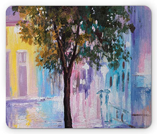 Lunarable Romantic Mouse Pad, Abstract Impressionism Themed Oil Painting of Vivid Urban Street and Tree, Standard Size Rectangle Non-Slip Rubber Mousepad, Multicolor