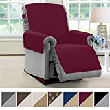 MIGHTY MONKEY Premium Reversible Couch Slipcover, Seat Width to 28' Furniture Protector, 2' Elastic Strap, Washable Slip Cover, Covers Protect from Kids, Dogs, Cats, Pets (Recliner: Merlot/Sand)