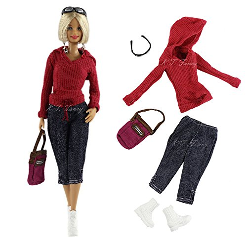 Casual Handmade Fashion Clothes Included Top+pants+bag+glasses+shoess for Barbie Doll Outfit