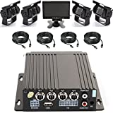 Wen&Cheng 4CH 720P Mobile AHD DVR Realtime Video/Audio Recorder with Remote Control + 4 pcs Waterproof 18 IR LED HD Camera + 7'' TFT LCD Color Monitor + 4pcs Cables, Car Black Box Security System