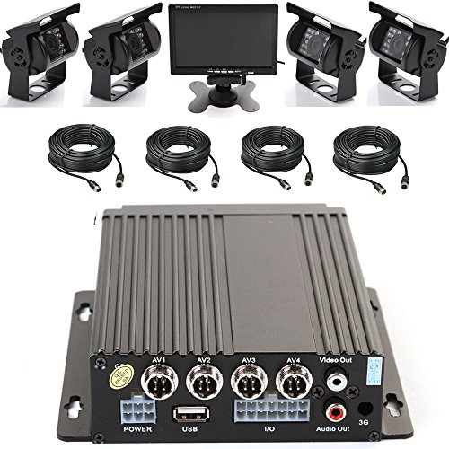 4 Ir Led (Wen&Cheng 4CH 720P Mobile AHD DVR Realtime Video/Audio Recorder with Remote Control + 4 pcs Waterproof 18 IR LED HD Camera + 7