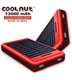 COOLNUT 13000mAh Solar power bank, Portable PowerBank Charger (RED)