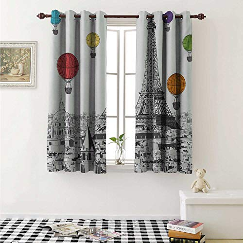shenglv Paris Blackout Draperies for Bedroom Greyscale Eiffel Tower and Notre Dame Building with Rainbow Colored Hot Air Balloons Curtains Kitchen Valance W72 x L63 Inch Multicolor ()