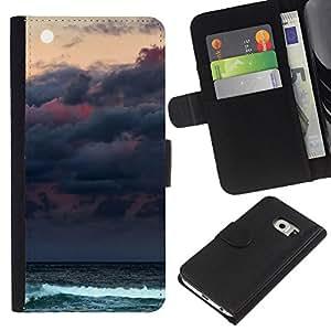 For Samsung Galaxy S6 EDGE Case , Clouds Sea Ocean Waves Moon - la tarjeta de Crédito Slots PU Funda de cuero Monedero caso cubierta de piel