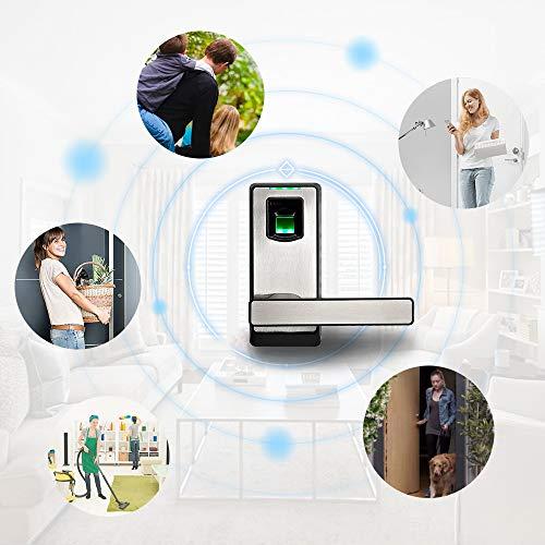 ZKTeco Electronic Smart Lock Biometric Fingerprint Door Lock with Bluetooth  Keyless Home Entry with Your Smartphone/Fingerprint Locks for Bedroom