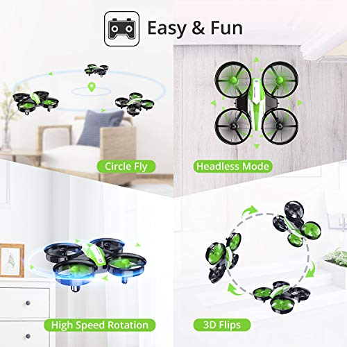 Holy Stone Kid Toys Mini RC Drone for Beginners Adults, Indoor Outdoor Quadcopter Plane for Boys Girls with Auto Hover, 3D Flip, 3 Batteries & Headless Mode, Xmas Toddler Gift, Green