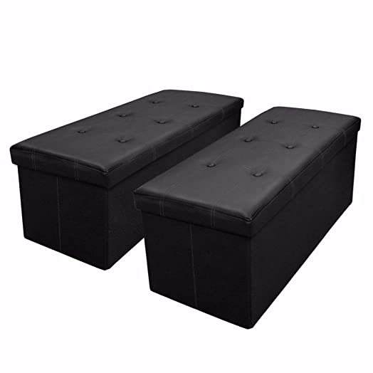 Otto Ben 2pc Set Folding Toy Box Chest with Memory Foam Seat, Tufted Faux Leather Trunk Ottomans Bench Foot Rest, Black