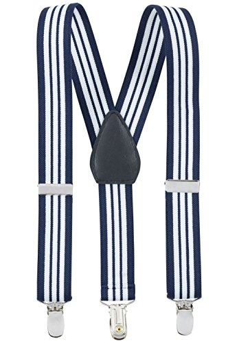 Suspenders for Kids - 1 Inch Suspender Perfect for Tuxedo - Navy and White Striped (30