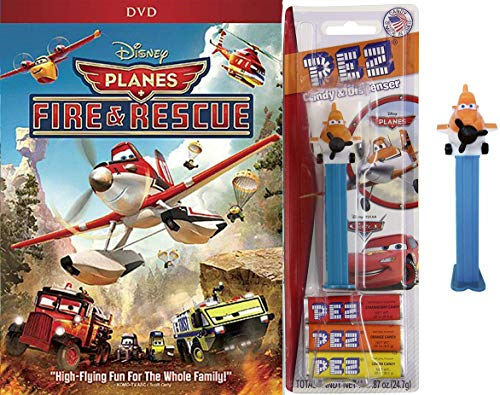 World of Cars/Planes High Flying Fun Disney Cartoon Movie Planes Fire & Rescue DVD Animated Feature + Pez figure Planes Soaring Set Family Bundle]()