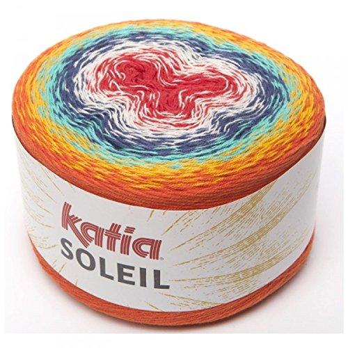 Katia Soleil, Long Spectrum Cotton-Blend DK-Weight Yarn (Red, Violet, Orange)