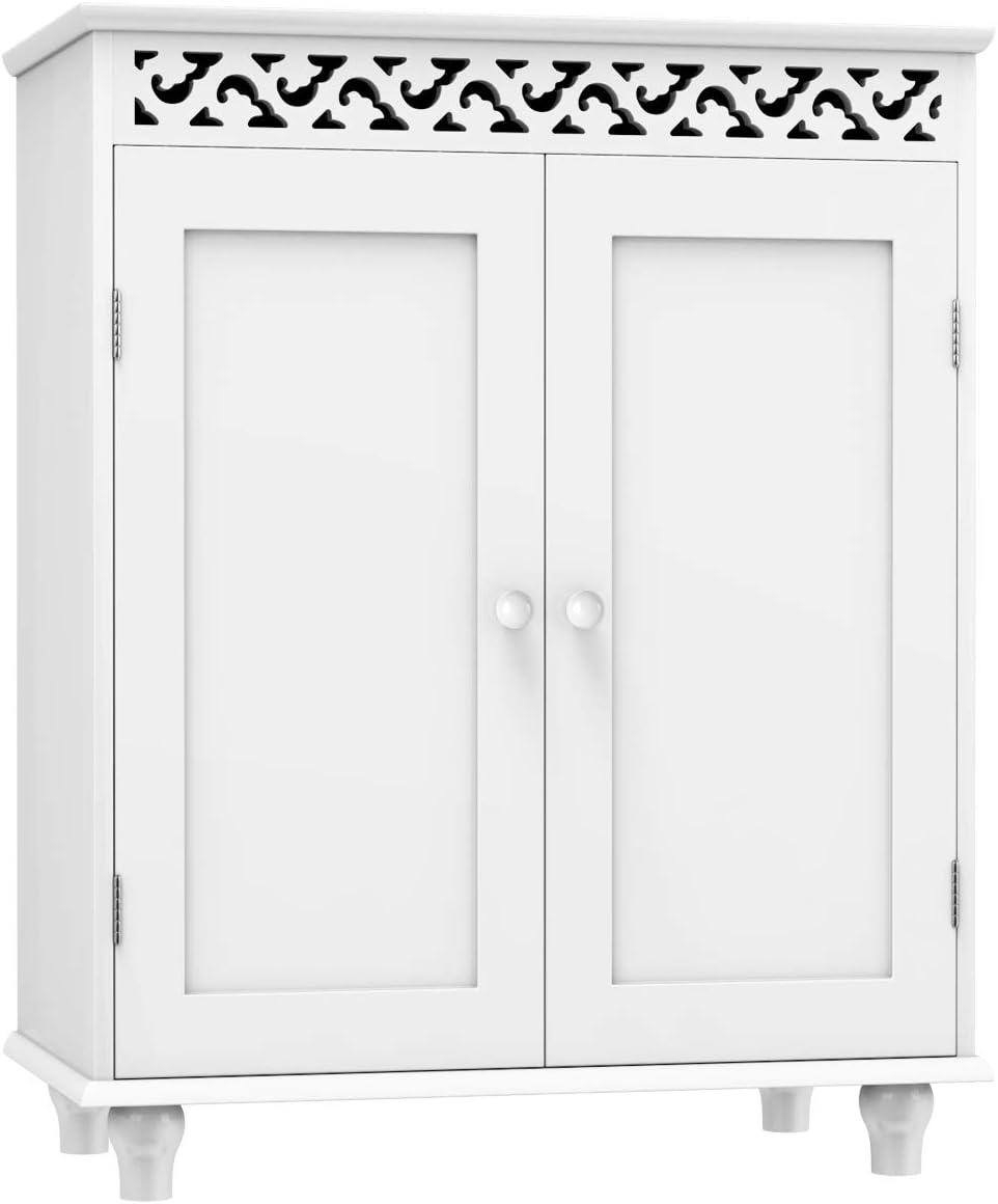 Tangkula Floor Bathroom Cabinet, Bathroom Storage Cabinet, Wooden Modern Home Bathroom Storage Organizer, Free Standing Storage Cabinet Furniture White