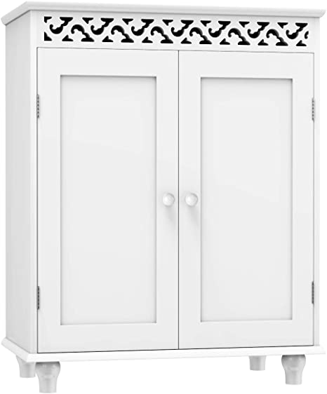 Bathroom Cabinet Organizer Bathroom Floor Cabinet W//One Drawer from US, White Wooden White Bathroom Storage Cabinets Freestanding for Home Office Living Room Bathroom
