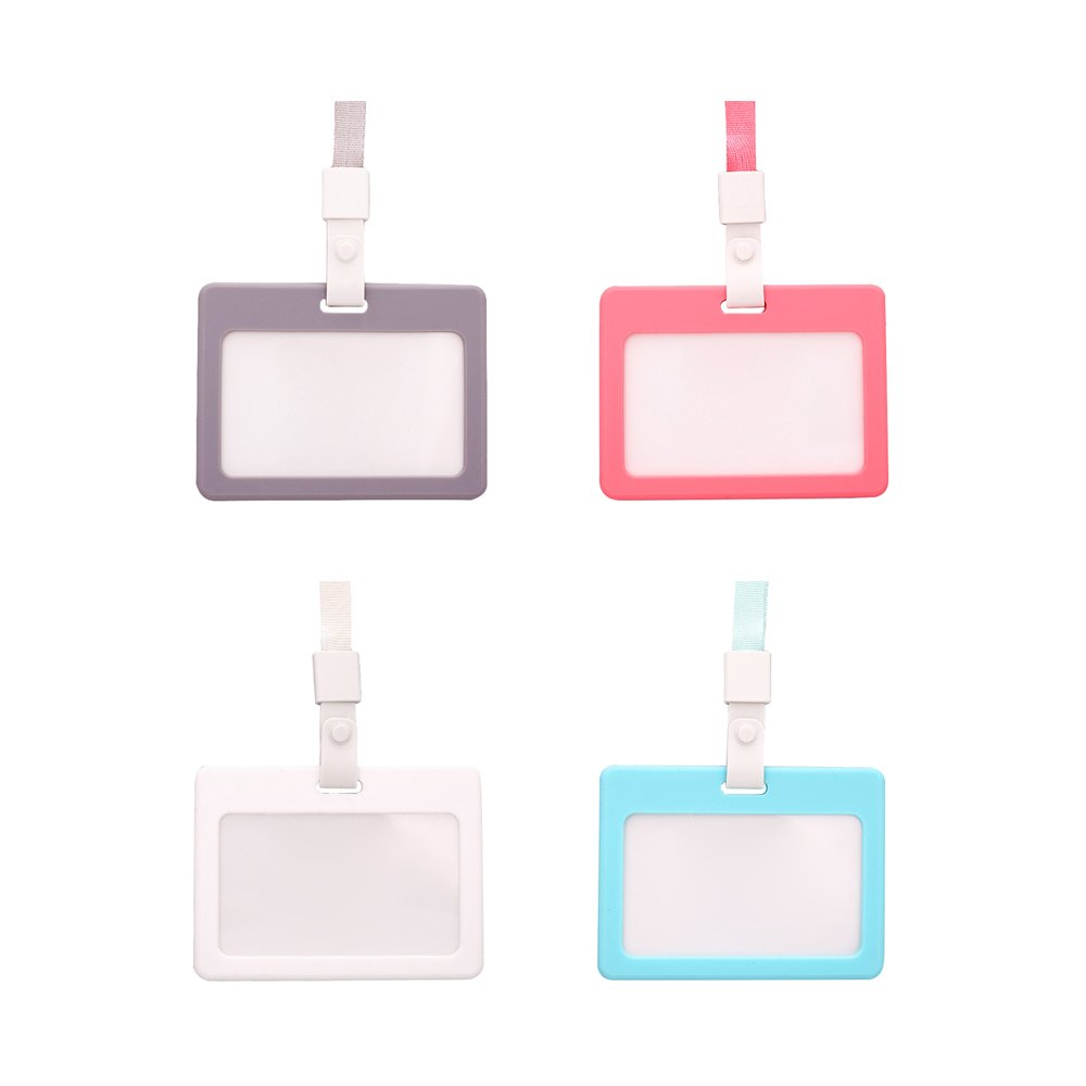 Zhi Jin Silicone Horizontal ID Badge Holder with Lanyard Credit Card Sleeves Protectors Organizer Neck Strap Office School Pack of 3 Mixed Color