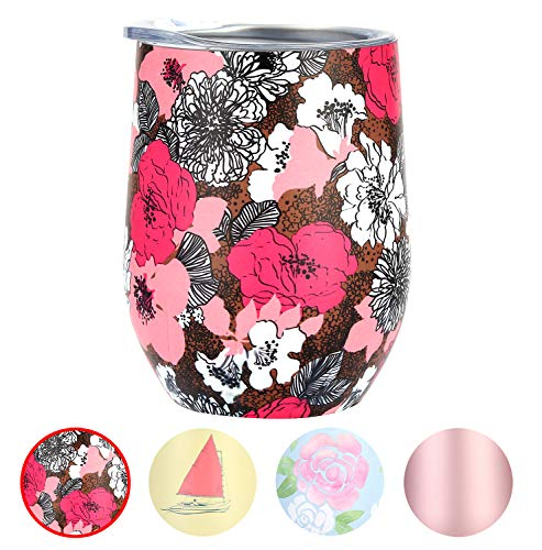 MKHS Double Wall Vacuum Insulated Stainless Steel Wine Tumbler with Lids for Wine, Coffee, Drinks, Champagne, Cocktails, 12 oz, Azalea Pattern