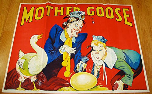 (Vintage Antique Original 1930s Art Deco Vibrant Children's Fairy Tale Mother Goose British Theater Poster Stone Lithography)