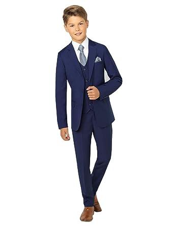 1c693a60f Amazon.com  yeoyaw Boys Navy Blue Flromal Slim Fit 3pcs Jacket Vest ...