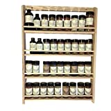 EmejiaSales Oak Spice Rack Wall Mount Organizer (4-Shelf Design), Hanging Natural Wood Country Rustic Style, Great Storage for Pantry and Kitchen - Holds 36 Herb Jars