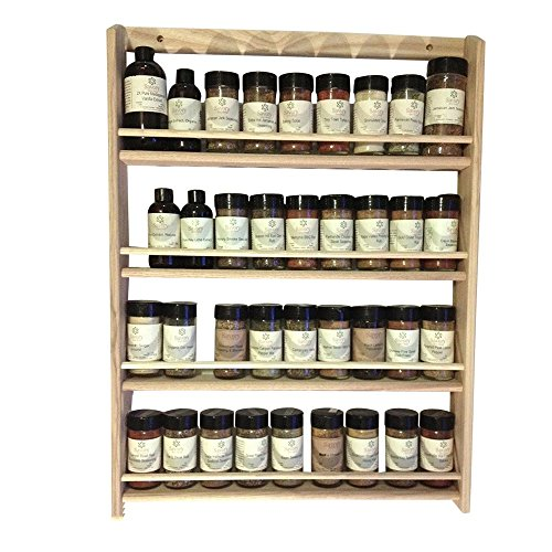 - EmejiaSales Oak Spice Rack Wall Mount Organizer 4 Tier, Solid Oak Wood With Natural Finish, Seasoning Storage for Pantry and Kitchen - Holds 36 Herb Jars