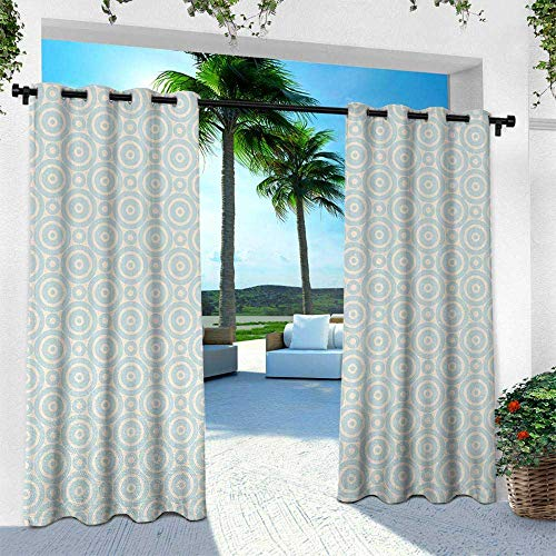 - Hengshu Shabby Chic, Outdoor Patio Curtains Waterproof with Grommets,Big Little Nested Symmetric Circles Dots Geometric Vintage Tile Pattern, W108 x L84 Inch, Cream Light Blue