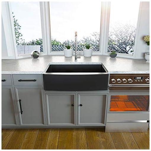 Farmhouse Kitchen 30 Farmhouse Sink Black – Kichae 30 Inch Kitchen Sink Gunmetal Matte Black Apron Front Deep Single Bowl 16 Gauge… farmhouse kitchen sinks