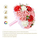 Febou-Wedding-Bridal-Bouquet-Wedding-Bride-Bouquet-Wedding-Holding-Bouquet-with-Artificial-Roses-Lace-Pearl-Ribbon-Perfect-for-Wedding-Church-Party-and-Home-DecorHeart-Pearl-WhiteRedPink