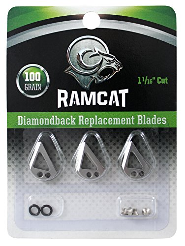 Ramcat Diamondback Broadheads Replacement Blades 100 gr. 9 Pk, Silver