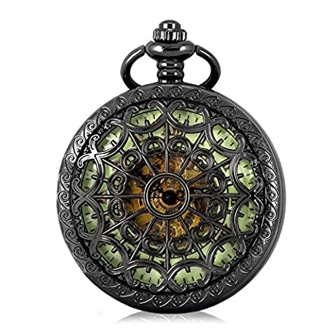 Carrie Hughes Men's Spiderman Luminous dial Steampunk Skeleton Mechanical Hand-wind Pocket Watch With Chain Gift Box (Spider (Mechanical Pocket Watch Engraved)